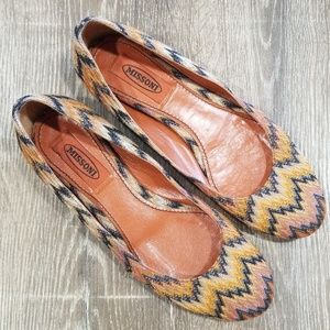 Missoni chevron stripe natural ballet flats 37